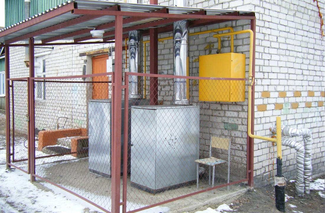 Вариант установки котла КСУВ на улице